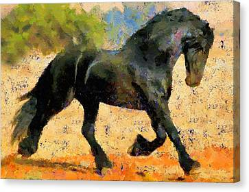 The Horse Canvas Print - Ebony The Horse - Abstract Expressionism by Georgiana Romanovna