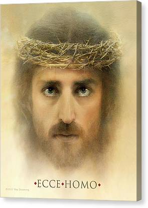 Jesus Face Canvas Print - Ecce Homo With Quote by Ray Downing