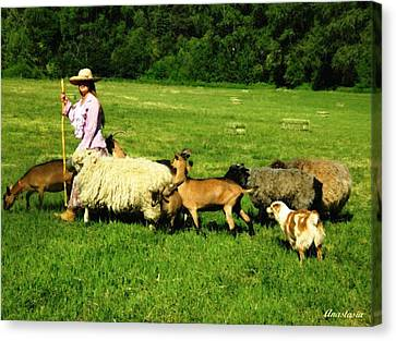 Canvas Print featuring the painting Ecclesia-the Joyful Flock by Anastasia Savage Ealy