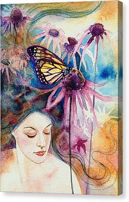 Canvas Print featuring the painting Echinacea by Ragen Mendenhall