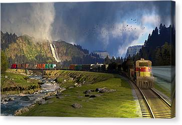 Echoes From The Caboose Canvas Print by Dieter Carlton