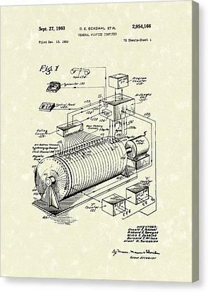 Eckdahl Computer 1960 Patent Art Canvas Print by Prior Art Design