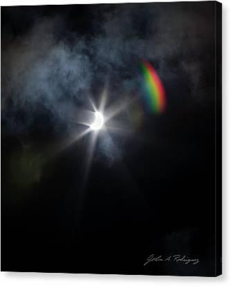 Solar Eclipse 2017 And Rainbow Canvas Print