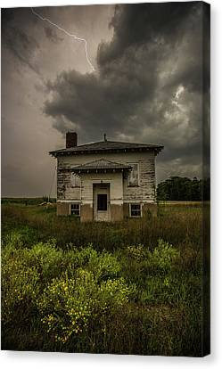 Old School Houses Canvas Print - Eclipse Apocalypse by Aaron J Groen
