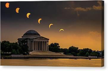 Eclipse Over Jefferson Canvas Print by Kristen Meister