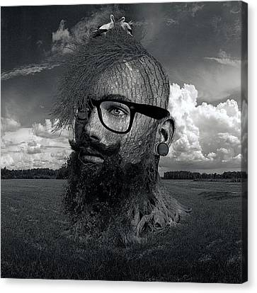 Rooted Canvas Print - Eco Hipster Black And White by Marian Voicu