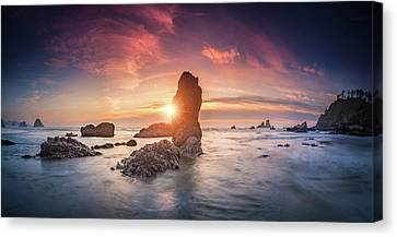 Canvas Print featuring the photograph Ecola State Park Beach Sunset Pano by William Lee