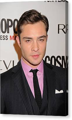 Ed Westwick At Arrivals Canvas Print by Everett