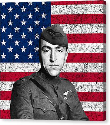 Pioneers Canvas Print - Eddie Rickenbacker And The American Flag by War Is Hell Store