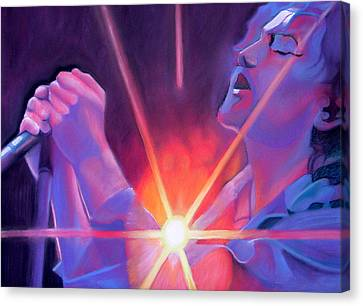 Eddie Vedder And Lights Canvas Print by Joshua Morton