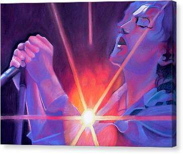 Eddie Vedder And Lights Canvas Print by Joshua Morton