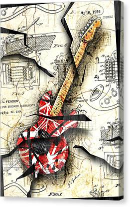 Abstract Art Canvas Print - Eddie's Guitar by Gary Bodnar