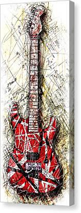 Van Halen Canvas Print - Eddie's Guitar Vert 1a by Gary Bodnar