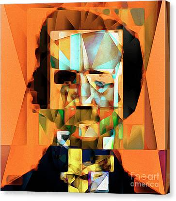 Canvas Print featuring the photograph Edgar Allan Poe In Abstract Cubism 20170325 Square by Wingsdomain Art and Photography