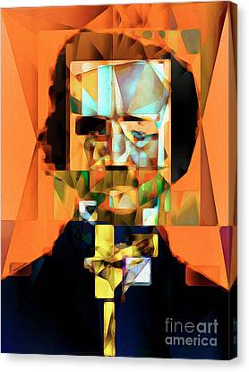 Canvas Print featuring the photograph Edgar Allan Poe In Abstract Cubism 20170325 by Wingsdomain Art and Photography