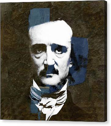 Canvas Print featuring the mixed media Edgar Allan Poe  by Paul Lovering