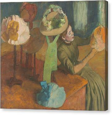 Working Women Canvas Print - The Millinery Shop by Edgar Degas
