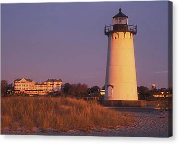 Edgartown Lighthouse And Mansion Canvas Print by John Burk