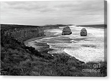 Edge Of A Continent Bw Canvas Print