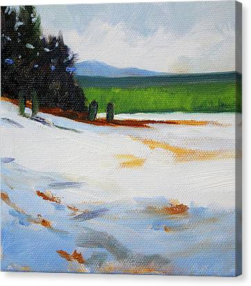 Canvas Print featuring the painting Edge Of The Snow Field by Nancy Merkle