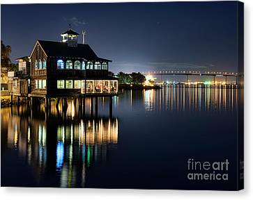 Canvas Print featuring the photograph Edgewater Grill by Eddie Yerkish