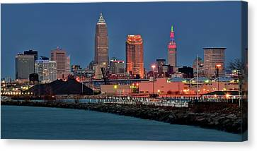 Edgewater Night View Canvas Print by Frozen in Time Fine Art Photography