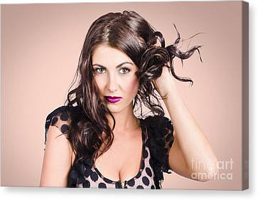 Edgy Hair Fashion Model With Brunette Hairstyle Canvas Print by Jorgo Photography - Wall Art Gallery