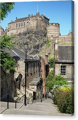 Canvas Print featuring the photograph Edinburgh Castle From The Vennel by Jeremy Lavender Photography