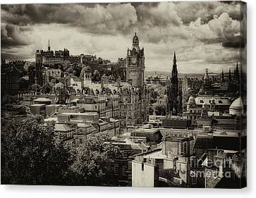 Canvas Print featuring the photograph Edinburgh In Scotland by Jeremy Lavender Photography