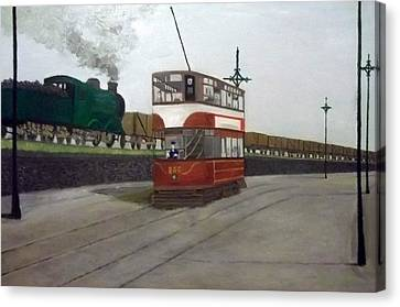 Edinburgh Tram With Goods Train Canvas Print