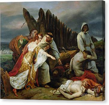 Edith Finding The Body Of Harold Canvas Print by Emile Jean Horace Vernet
