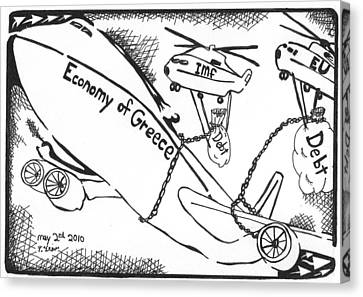 Editorial Maze Cartoon - Economy Of Greece By Yonatan Frimer Canvas Print by Yonatan Frimer Maze Artist