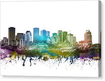 Edmonton Cityscape 01 Canvas Print by Aged Pixel