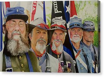 Edmund Ruffin Fire Eaters Color Guard 2016 Canvas Print by David Hoque