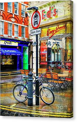 Canvas Print featuring the photograph Ed's Easy Diner Bicycle by Craig J Satterlee