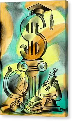 Education And Money Canvas Print by Leon Zernitsky
