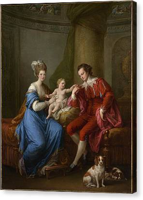 Edward Smith Stanley 17521834 Twelfth Earl Of Derby With His First Wife Lady Elizabeth Hamilton 17531797 And Their Son Edward Smith Stanley 17751851 Canvas Print by Angelica Kauffmann
