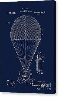 Edwardian Age Airship Blueprint Patent Drawing, Steampunk Canvas Print by Tina Lavoie