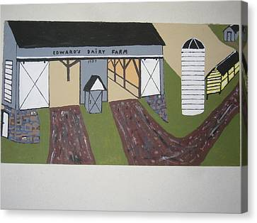 Canvas Print featuring the painting Edwards Dairy Farm by Jeffrey Koss