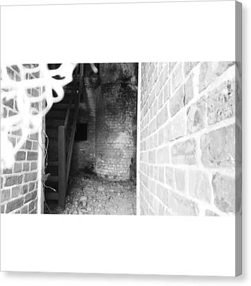 Eerie Look Inside The Martello Tower At Canvas Print by Natalie Anne