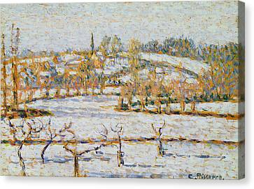 Effect Of Snow At Eragny Canvas Print by Camille Pissarro