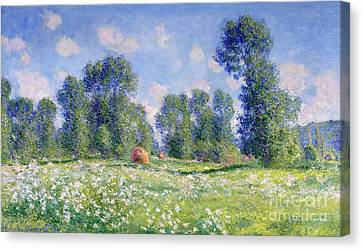 1890 Canvas Print - Effect Of Spring At Giverny by Claude Monet