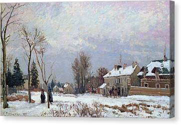 Effects Of Snow Canvas Print by Camille Pissarro