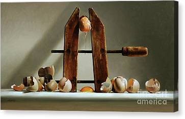 Egg And Shells With Wood Clamp Canvas Print