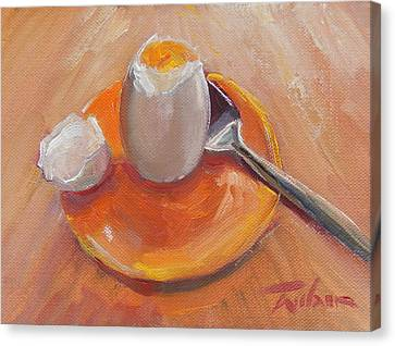 Egg And Spoon Canvas Print by Ron Wilson