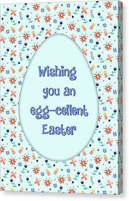 Canvas Print featuring the digital art Eggcellent Easter by JH Designs
