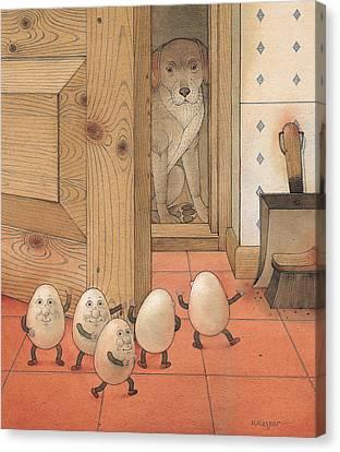 Eggs And Dog Canvas Print by Kestutis Kasparavicius