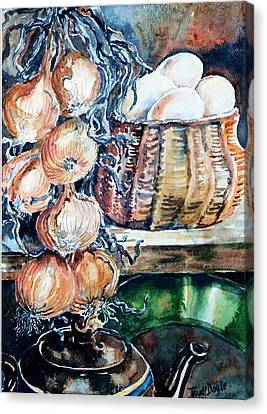 Canvas Print featuring the painting Eggs And Onions In The Larder  by Trudi Doyle