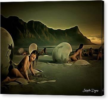Eggs In The Beach - Da Canvas Print by Leonardo Digenio