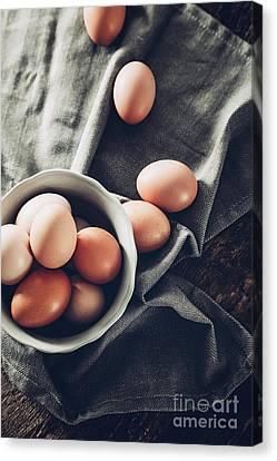 Eggs  On Wood Canvas Print
